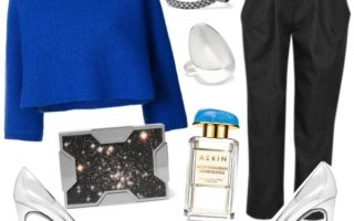 Pulover albastru din lana bucle cu pantaloni gri – outfit elegant