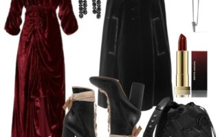 Rochie de catifea asimetrica cu capa neagra Prada